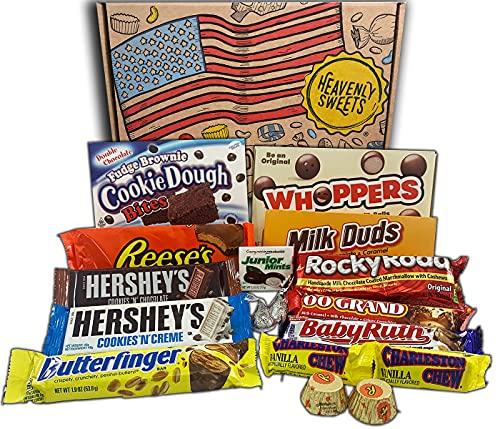 Heavenly Sweets Amerikanische Schokolade Geschenkbox - Klassische USA-Marken-Box voller Schoko-Leckereien - Ideales Geschenk für Geburtstag, Weihnachten, Halloween - 17 Snacks, 28x19x4cm