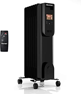 COSTWAY Portable Electric Oil-Filled Space Heater, 1500W Radiator Heater with 12h Timer, Remote Control, Digital Thermostat, Tip-over & Overheat Protection, Energy-Efficient Heater for Home & Office