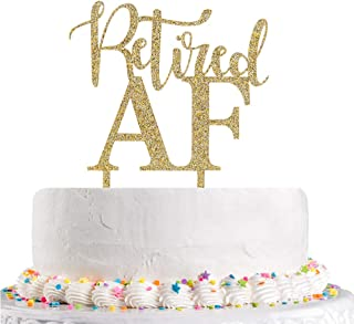Retired AF Cake Topper Gold Glitter The Adventure Begin, Retirement Party Decoration Supplies(Acrylic)
