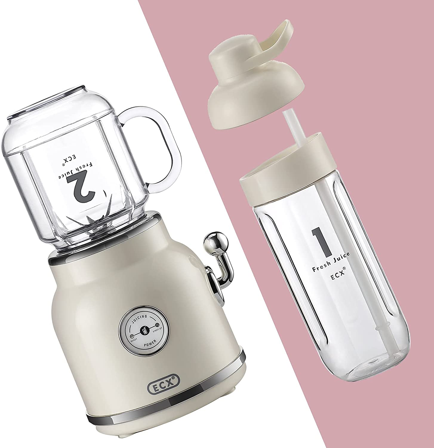 ECX Smoothie Blender Maker, Personal Blender for Shakes and Smoothies with 20.3 oz Tritan BPA-Free Travel Cup and Lid, Cream
