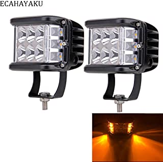 2 pieces ECAHAYAKU car LED light bar dually cubic 4inch white yellow dual color strobe function led light side shooter 60w for jeep hummer suv ute pick-up trucks 4x4 off-road