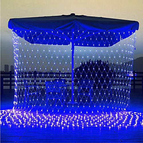 Christmas Net Lights, Connectable 11.5ft x 5ft 360 LED 8 Modes Low Voltage Mesh Fairy String Lights, Net String Christmas Lights for Garden, Bushes, Wedding, Xmas Tree Decorations (Blue)