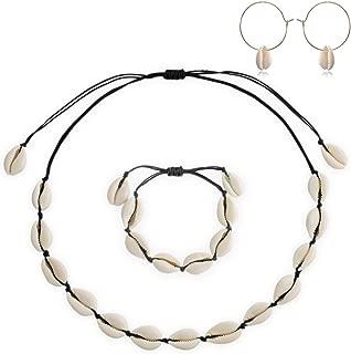 Natural Shell Choker Necklace Handmade Adjustable Seashell Beads Beach Cord Necklace Bohemian Boho Hawaiian Jewelry Set for Women Girls