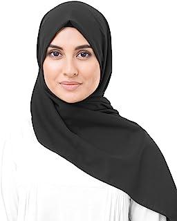 InEssence Jet Black Cotton Voile Scarf Women Girls Wrap Medium Size Hijab