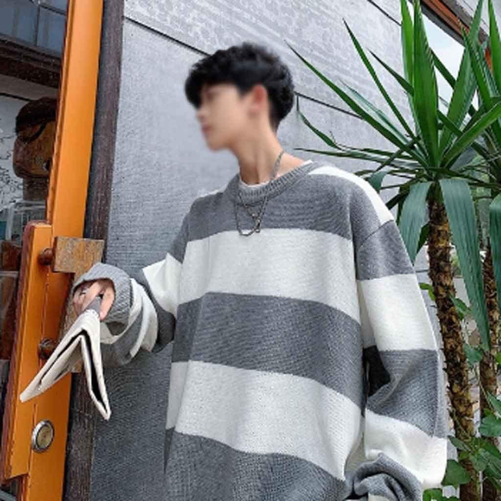 ZYING Men Oversized Striped Sweater Mens Winter Korean Fashions Sweater Male Pullover Harajuku Harajuku Black Sweaters (Color : XL Code)