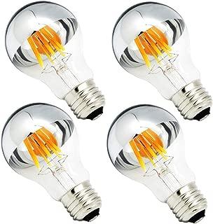 Half Chrome Light Bulb 6W (60 Watt Equivalent) Dimmable A19 A Shape 2700K Warm White Decorative LED Edison Bulb Sliver Tipped Mirror Light Bulb E26 Base Pack of 4