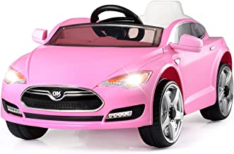 Costzon Kids Ride On Car, 6V Battery Powered Electric Vehicle with 2.4 GHZ Remote Control, Safety Belt, Led Headlights, Horn, Music, Volume Control (Pink)