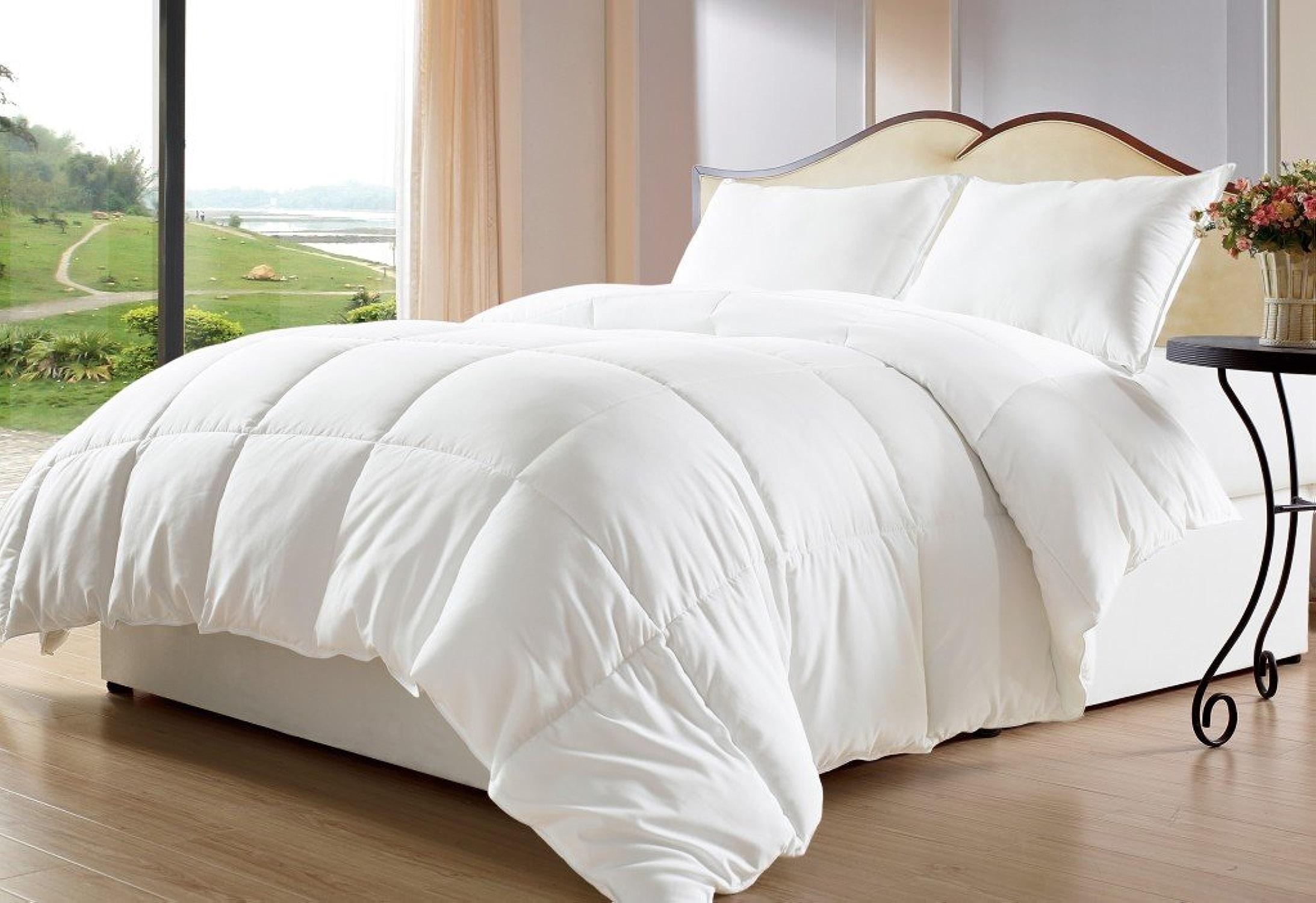 Dreamz étui Parure de lit Ultra Doux 100% Coton 500fils cm2 1housse couette (100g m2 en fibre) Euro Grand simple, blanc massif Scala Set Doudou en coton égypcravaten