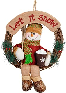 D-FantiX Snowman Christmas Wreath, 14 Inch Grapevine Wreath Small Front Door Wreaths Holiday Christmas Decorations