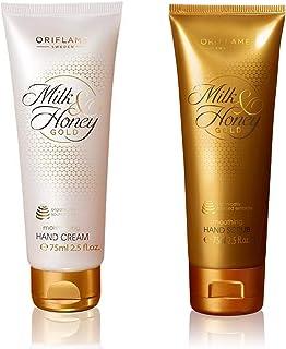 Oriflame MILK & HONEY GOLD Milk & Honey Gold Moisturising Hand Cream 75 ml with MILK & HONEY GOLD Smoothing Hand Scrub 75 ml