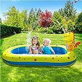 Piscina inflable con rociadores para niños, piscina con almohadilla para salpicaduras, piscina para niños para exteriores, alfombrilla para jugar al aire libre, actividades acuáticas al aire libre