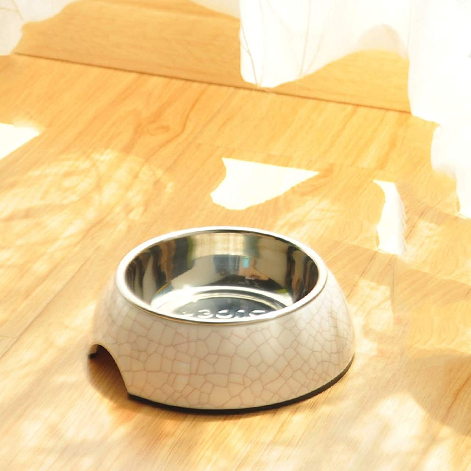 CXQ Dog Bowl Pet Bowl Dog Food Bowl Small Medium and Large Dog Stainless Steel AntiSkid Cat Bowl Creative Texture Shape Pet Supplies (Size   S)