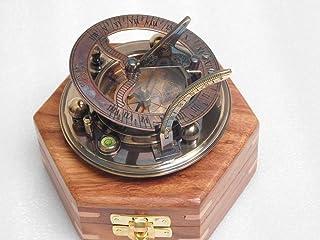 RIRHTAJUS Brújula de latón Antiguo con Caja de Palisandro