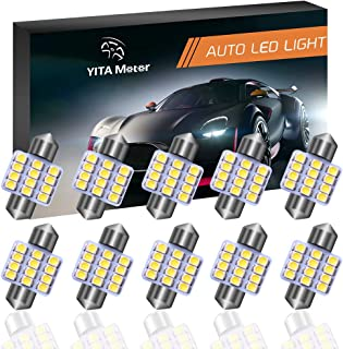 YITAMOTOR 10 Pcs 31mm 1.25 Inch 3528 12SMD 12V Festoon Dome Light LED Bulbs De3175 De3021 De3022 3175 (White)