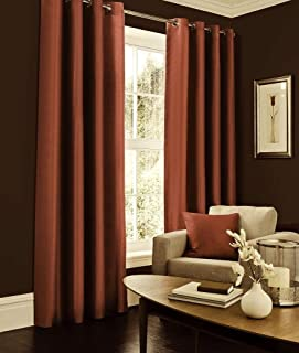 IHF Faux Silk Dupioni Solid Textured Lined Grommet Eyelet Panels Curtains Drapes (Rust, 52