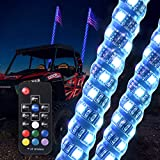 MICTUNING 2pcs 4ft Spiral LED Whip Lights with Flag - 22 Modes 20 Colors Wireless Remote Weatherproof RGB Lighted Antenna Whips for ATV UTV RZR Jeep Trucks Dunes