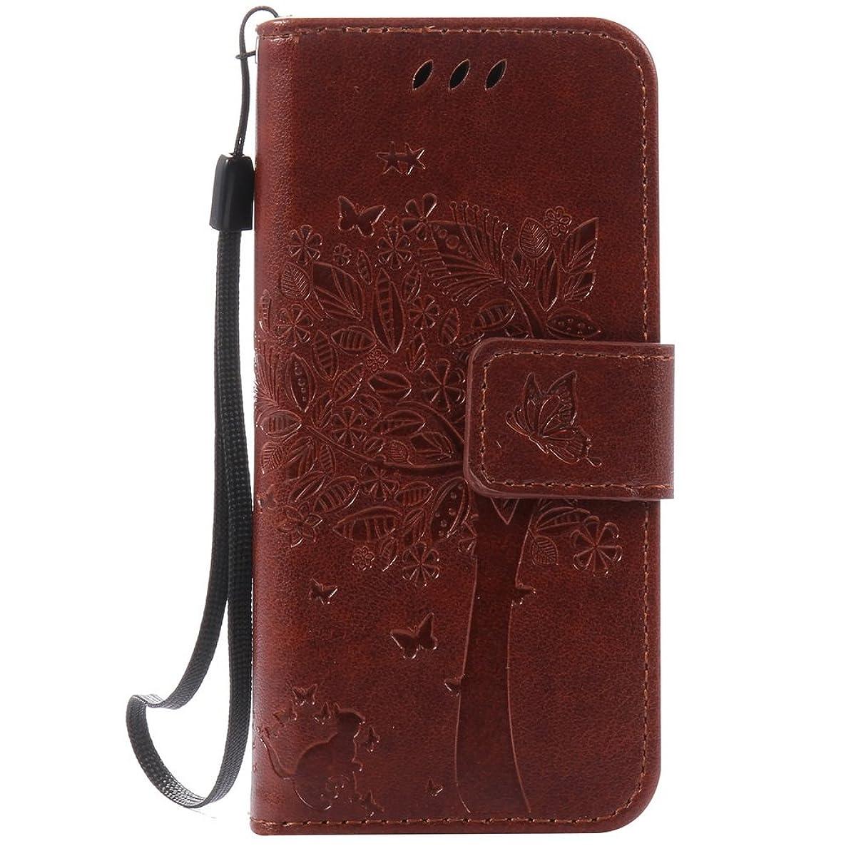 ねばねばブラウズ染料Docrax iPod Touch6ケース / Touch5ケース 手帳型 スタンド機能 財布型 カードポケット アップルTouch第6世代 / Touch第5世代 手帳型ケース レザーケース カバー - DOKTU41033 ブラウン