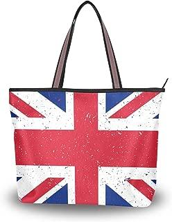 Women's Russian Flag Tote Handbags Shoulder Bag Purses Ladies Zippered Weekend Shopping Bag Top-Handle Bags