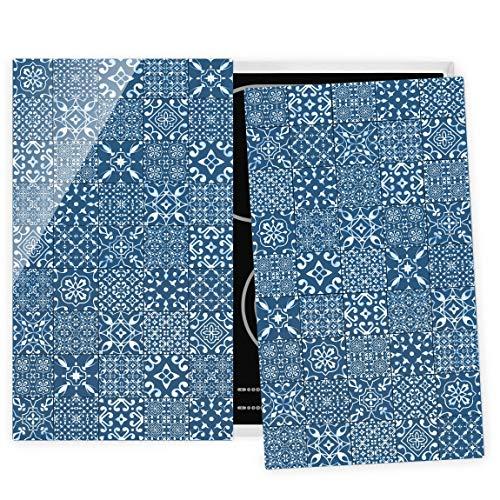 Herdabdeckplatte Glas universal ESG Sicherheitsglas Fliesen Blau Weiß 52 x 60 cm