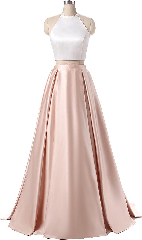 Ellystar Women's Halter Satin Two Pieces Zipper Sleeveless ALine Formal Dresses