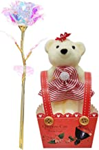 Home Runner 24 Carat Transparent Color Golden Rose with Small Teddy | Best Gift for Valentine's Day, Mother's Day, Anniversary, Birthday (Plain, Rose with Teddy)