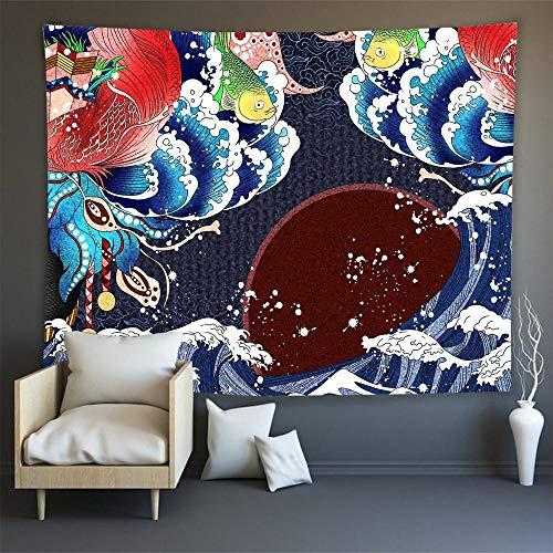 KHKJ Japón Kanagawa Waves Impreso Tapiz Colgante Ballena Arowana Tapices Colgantes Boho Colcha Yoga Mat Manta A16 95x73cm