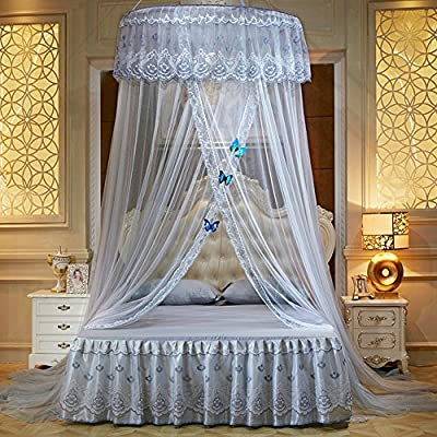 WLHOPE Mosquito Net Canopy Ceiling Stylish Lace Princess Butterfly Dome Mosquito Net Diameter 1.2M Bed Cotton Cloth Tent Baby Kids Indoor Reading Play Games House Anti-Mosquito Insect Netting