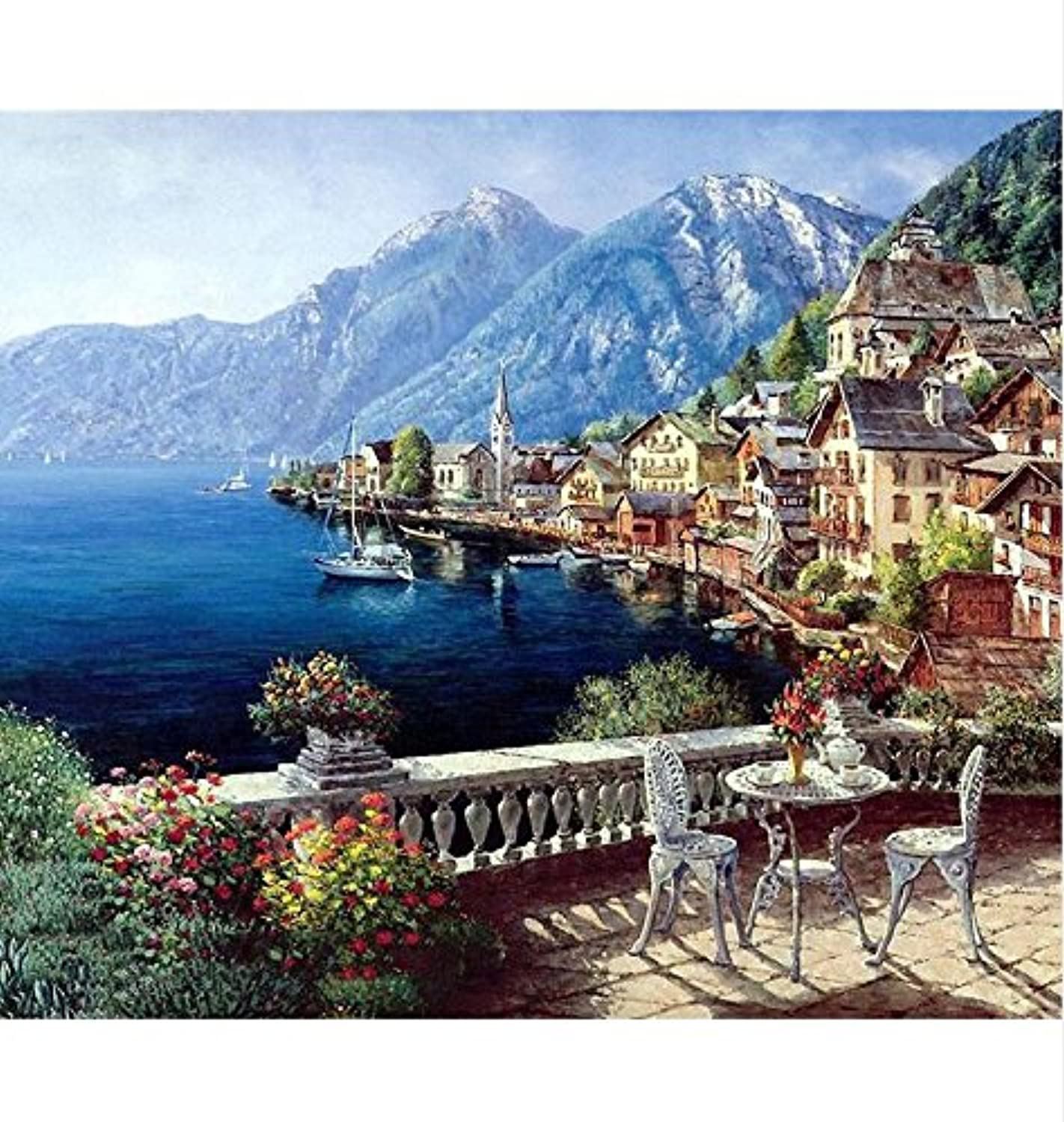 Paint by Number Kit,Diy Oil Painting Drawing Harbor Village Canvas with Brushes Decor Decorations Gifts - 16x20 inch with Frame
