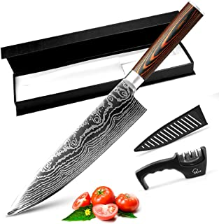 MYVIT Chef Knife Pro Kitchen Knives 8 inch Japanese Chefs Knife Cooking Sushi Professional for Vegetables Meat Chopping [Knife Sharpener Knife Sheath]