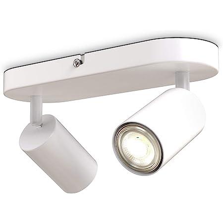 B.K.Licht I plafonnier spots I 2 spots pivotants & orientables I GU10 I blanc mat I livré sans ampoules
