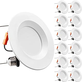 TORCHSTAR 5/6 Inch Dimmable LED Retrofit Recessed Downlight, 15W (120W Equivalent), Energy Star & UL-Listed, CRI90+, 1100lm, 5000K Daylight, 5 Years Warranty, Pack of 12