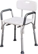 Chaise de Douche siège de Douche Ergonomique Hauteur réglable Pieds antidérapants Dossier accoudoirs Amovibles Charge Max. 136 Kg alu HDPE Blanc