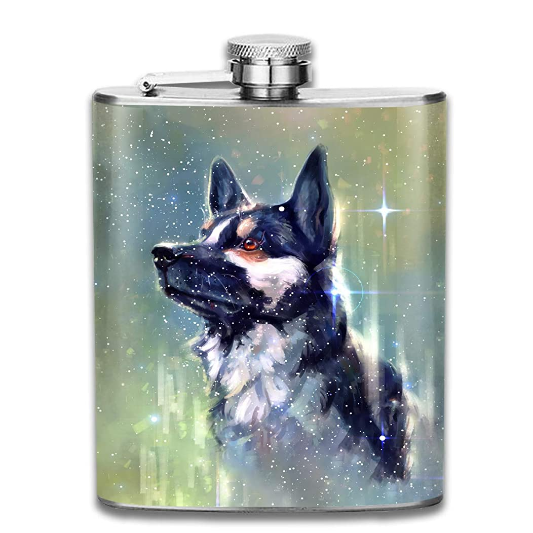 Flask1 Stainless Steel Hip Flask Dogs Head Art Wine Bottle Whiskey Container Flask Pocket for Adults