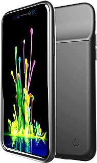HiKiNS iPhone XS Max 対応 バッテリーケース 5000mAh ポータブル保護充電ケース容量 超薄型 軽量 チャージャー 一体型 バッテリー内蔵ケース (6.5インチ) ケースサポートLightningヘッドフォン - 黒