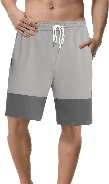 Sykooria Pantalones Cortos para Hombre Deporte Algodón Shorts Deportivos Bermuda Deporte de Running Correr Verano Cordón