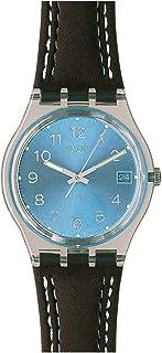 ساعة سواتش بلو تشوكو مينا زرقاء بلاستيك شفاف جلد أسود كوارتز للرجال GM415