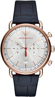 Emporio Armani Men's Chronograph Stainless Steel Quartz Watch with Leather Calfskin Strap, Blue, 22 (Model: AR11123