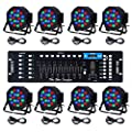 CO-Z LED Stage Lights DMX, 8 pcs 18x3W RGB Par Can Lights Package with Remote Controller Sound Activated Stage Effect Lighting for Party DJ Dance Church Wedding Home Uplighting