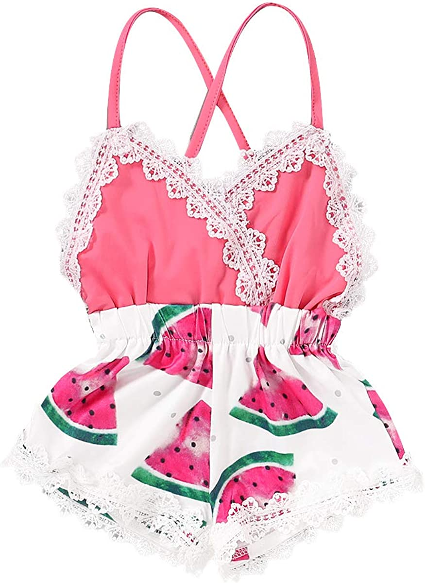 Summer Toddler Baby Girl Clothes Cute Tr Print Fruit Lace Flower Popular products A surprise price is realized
