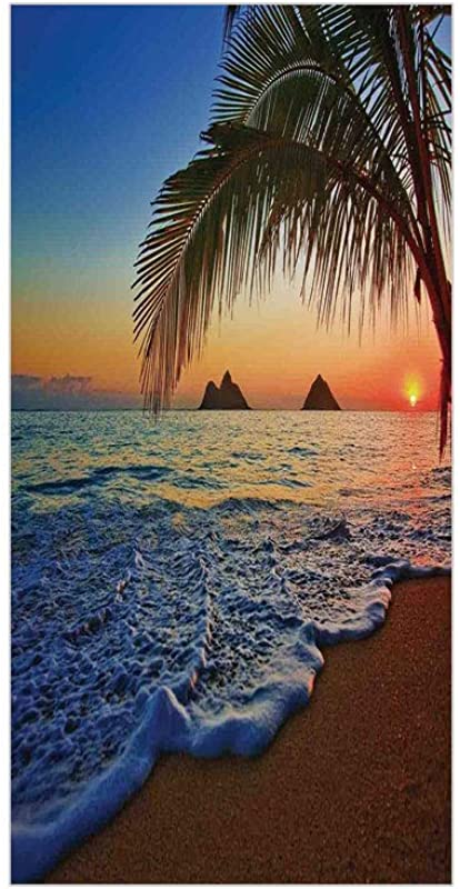 Ylljy00 Decorative Privacy Window Film Pacific Sunrise At Lanikai Beach Hawaii Colorful Sky Wavy Ocean Surface Scene No Glue Self Static Cling For Home Bedroom Bathroom Kitchen Office Decor