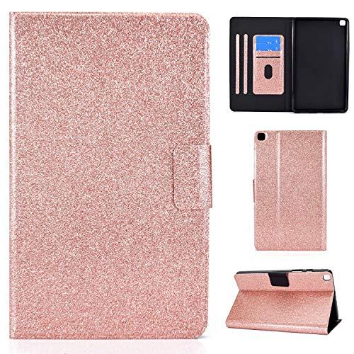 Nadoli PU Leder Glitzer Hülle für Samsung Galaxy Tab A7 {10.4} T500 2020,Full Body Brieftasche Slim Schutzhülle Magnetisch Flip Ständer Schale,Roségold