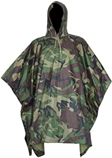 Militar Impermeable Ejército Encapuchado Capa de Lluvia Poncho Camuflaje para Cámping Excursionismo Deportes al Aire Libre