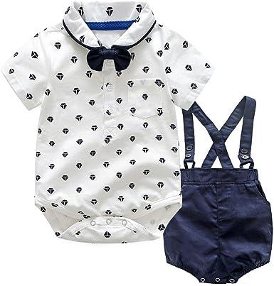 QinMM Los bebés Varones Bowtie Body + Petos Pantalones Cortos, Camisa Mono