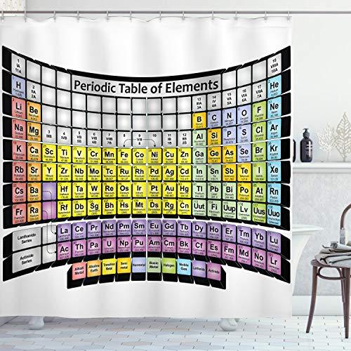 ABAKUHAUS Chemie Duschvorhang, PeriodenTisch Schule, Digital auf Stoff Bedruckt inkl.12 Haken Farbfest Wasser Bakterie Resistent, 175 x 200 cm, Multicolor