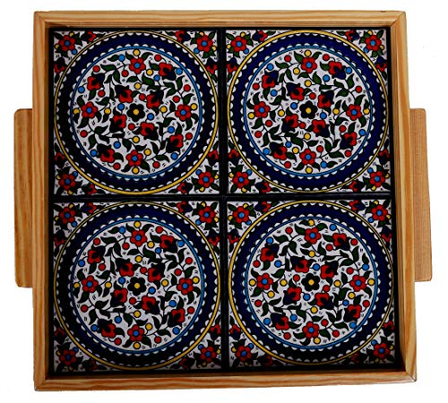 Oriental Arts Decorative Ceramic Serving Trays- for Party and Coffee Table Kitchen Counter Handmade Ceramic Tiles Display or Serving Tray with Handles 126 x 126 Olive Multi