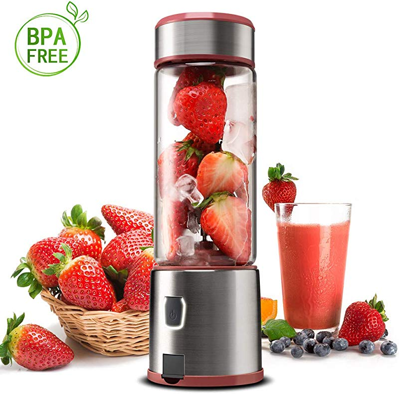Glass Portable Blender KACSOO SPOW Single Serve Personal Blender USB Rechargeable Blender For Smoothie And Shakes Cordless Blender With 5200mAh Rechargeable Battery Pink