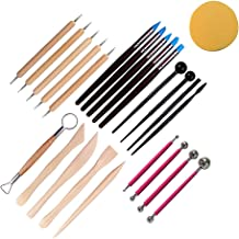 BESPORTBLE 24pcs Pottery Tools Clay Sculpting Tool Wooden Handle Pottery Carving Tool Kit for Carving Scraping Tool