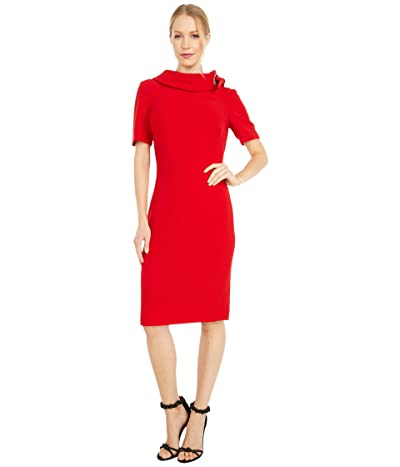 Badgley Mischka Tie Neck Dress (Deep Red) Women