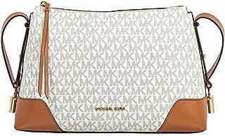 Michael Kors Crosby Medium Signature Logo Print Messenger Bag - Vanilla/Acorn, White / Brown, Large