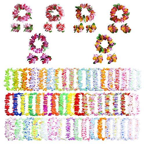 MOAMUN Hawaiian Flor Leis,Tropical Luau de 68 Piezas con Collares de Flores elásticas de 50 Piezas, Cintas para la Cabeza de 6 Piezas y Pulseras de 12 Piezas para Accesorios de Fiesta en la Playa